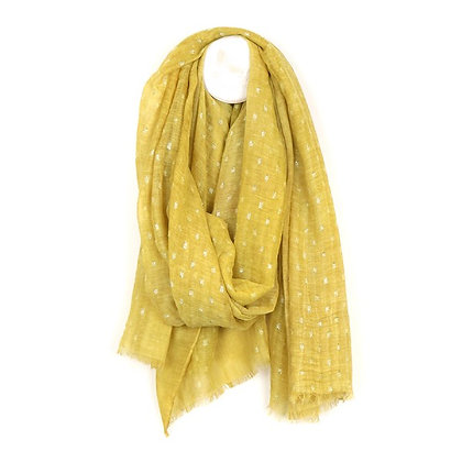 Washed mustard scarf with metallic dash pattern
