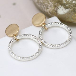 Brushed gold disc and silver plated crystal hoop earrings 03297