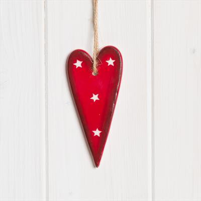 Ceramic red hanging heart with white star 10cm