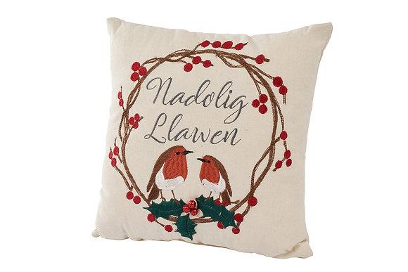 Welsh Nadolig Llawen robin cushion