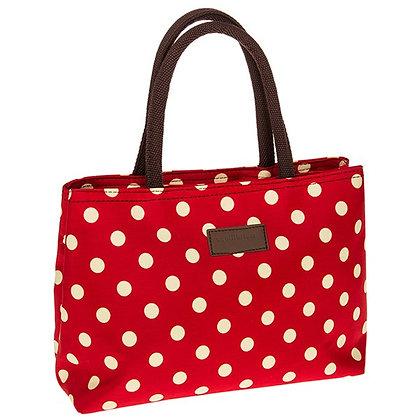 Spots Waterproof Handbag Red  and Cream