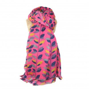 Colourful Leaves Scarf - Hot Pink