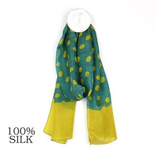 TURQUOISE/MUSTARD Spots and Dots Border Silk Scarf