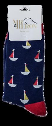 Mr Heron Little Boats Socks Navy  -  Mens