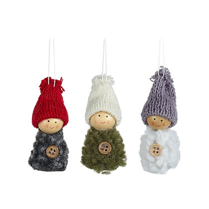 Hanging woolly figures- choice of 3 colour
