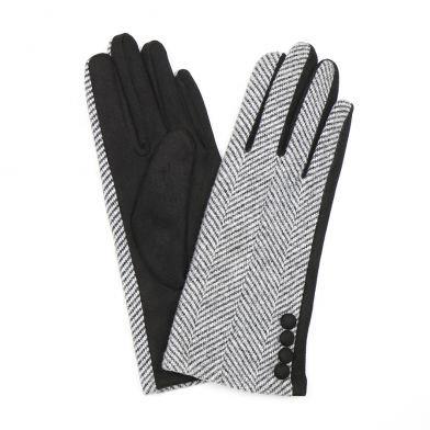 Black and white herringbone gloves