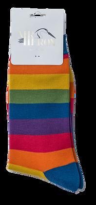 Mr Heron Bamboo Socks - Rainbow thick stripe Mens