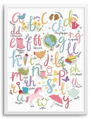 Pastel Brights Welsh Alphabet Print