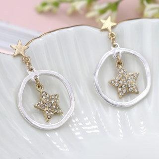 Worn gold crystal inset star in silver hoop earrings 03294