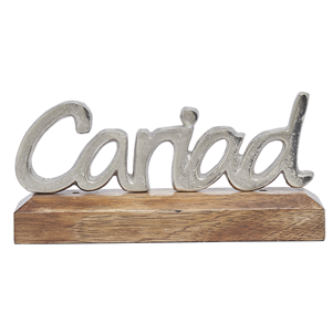 Silver metal Cariad (Love) on wooden base