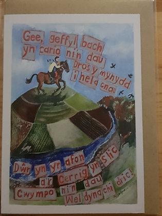 Lizzie Spikes Driftwood designs card -  Gee Geffyl bach