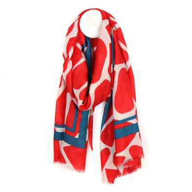 Vibrant red graphic print scarf