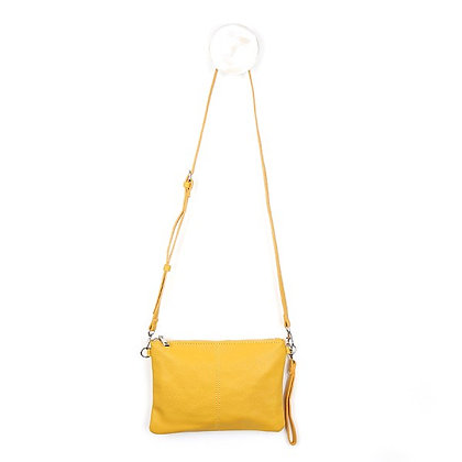Vegan Leather convertible clutch bag in mustard yellow