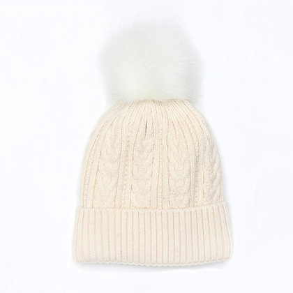 Winter hat in oatmeal with a matching faux fur bobble