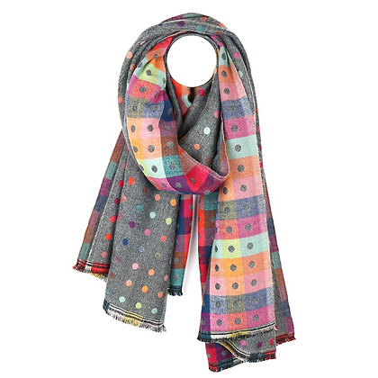 Grey multicoloured reversible jacquard dotty scarf