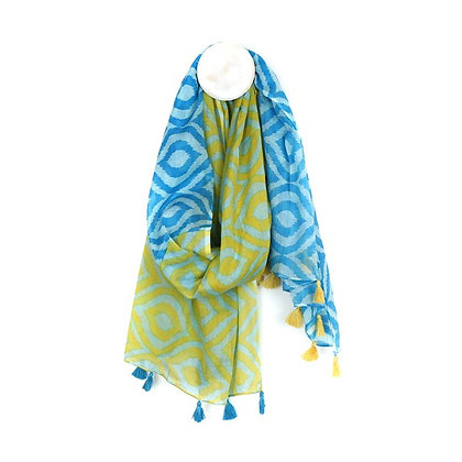 Cotton scarf with green and blue ikat diamond print