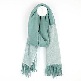 Aqua Herringbone scarf with fringed end