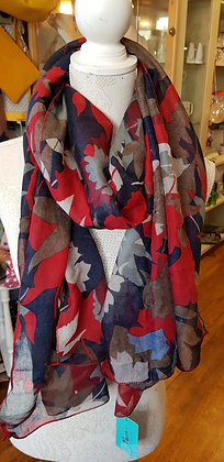 Red multi overlap leaf print scarf