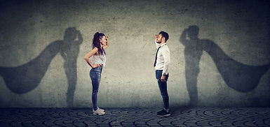 Side view of a man and woman imagining t