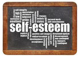 self-esteem word cloud on isolated vinta