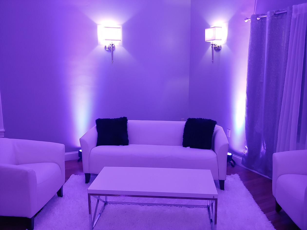 White Leather Furniture with Uplighting