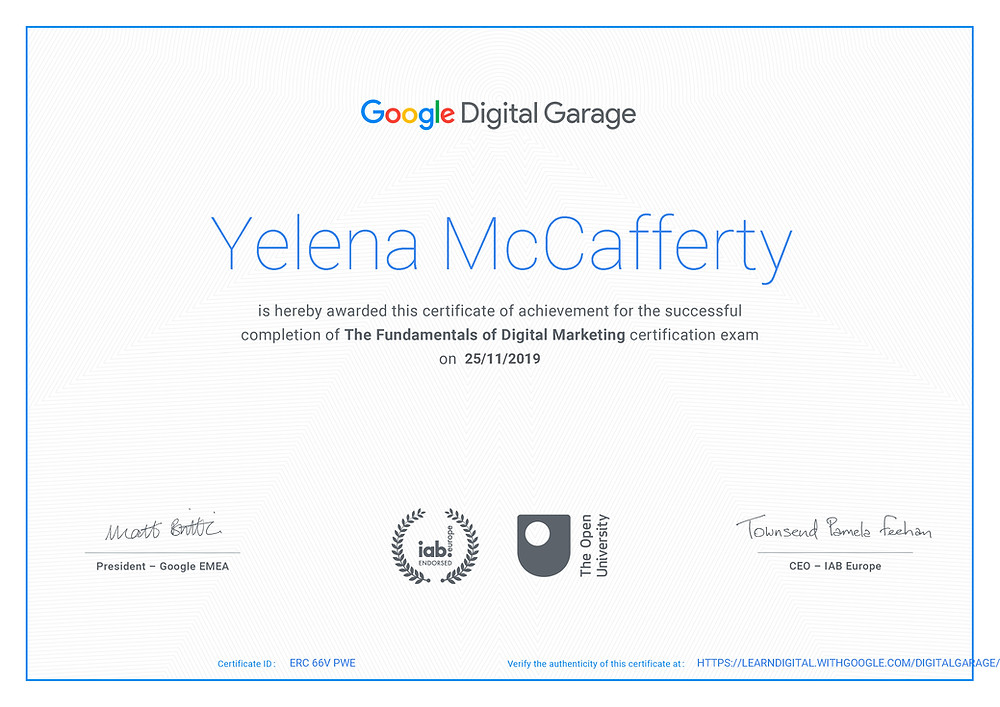 Yelena McCafferty has completed this Google Digital Garage programme
