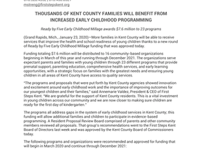 THOUSANDS OF KENT COUNTY FAMILIES WILL BENEFIT FROM INCREASED EARLY CHILDHOOD PROGRAMMING
