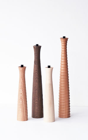Gorgeous Handturned Wooden Profile Spice Mills by Alexander Ortlieb