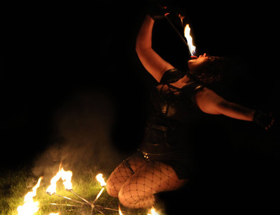 Fire eating and fans
