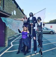 Violet, Blue Sicx and Glow Worm stilt walking