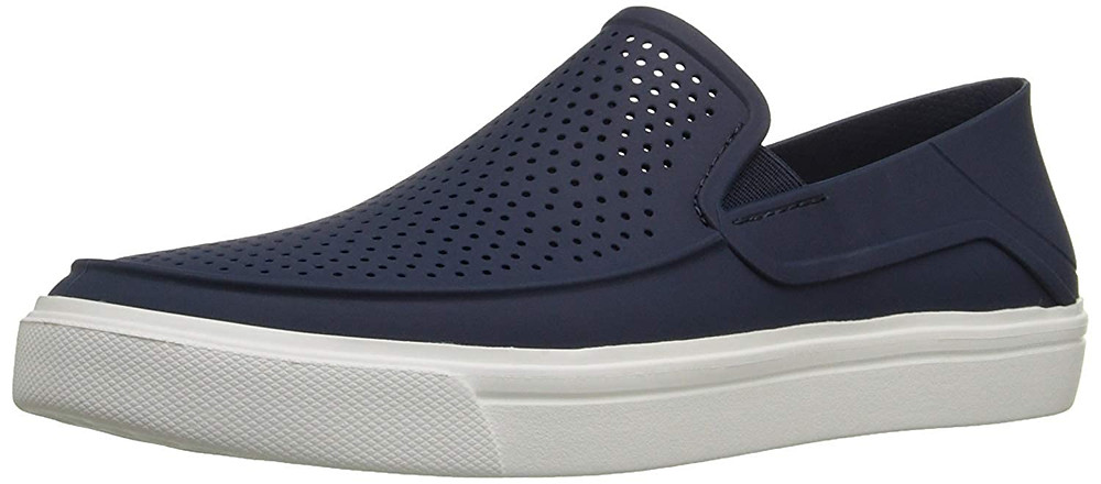 Blue slip-Ons with white sole