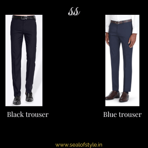 Black and blue formal trousers