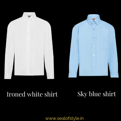 White shirt and blue shirt infograph
