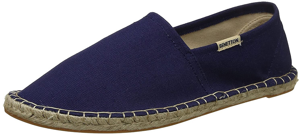 Blue espadrilles with brown sole