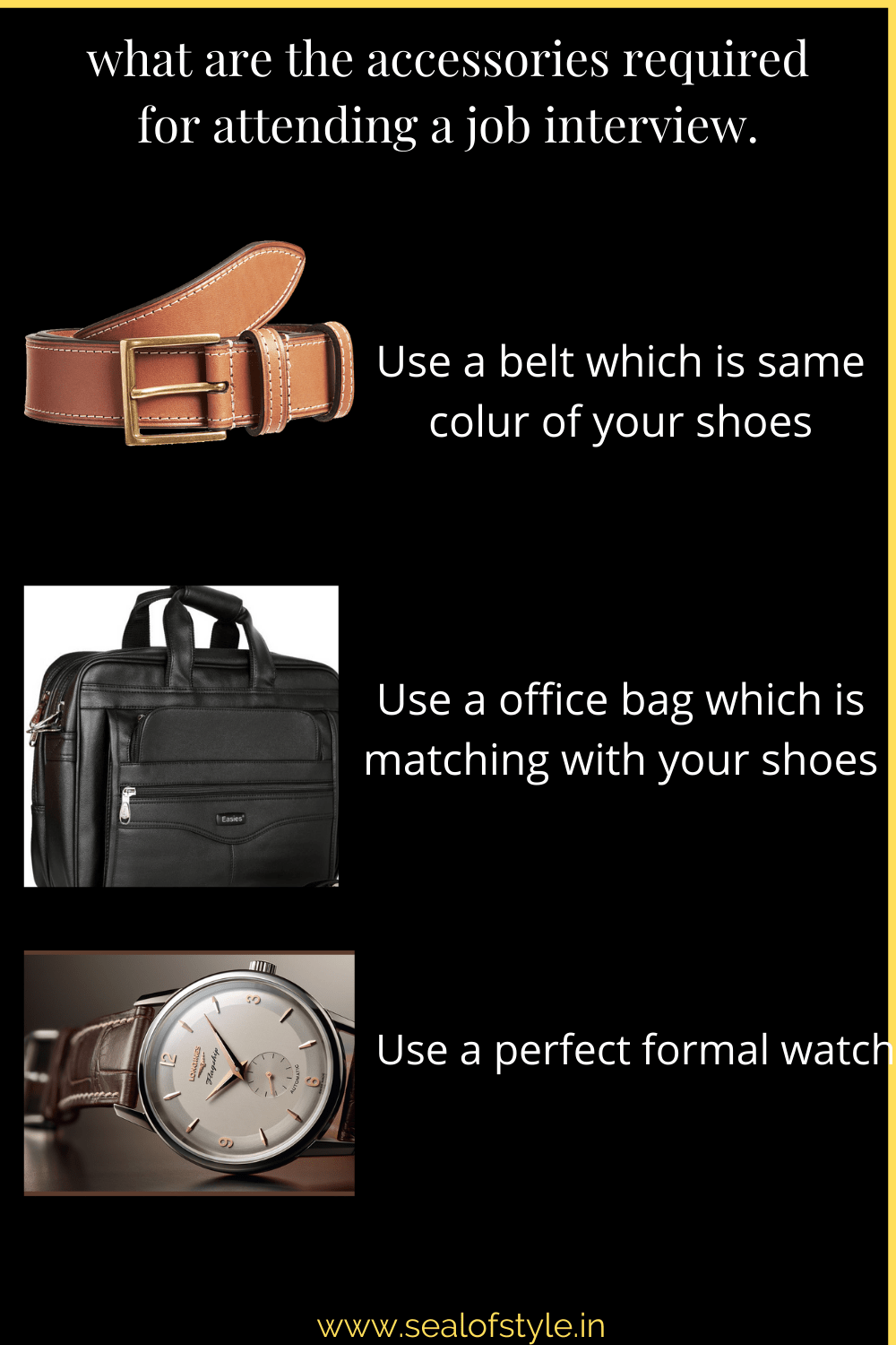 Infograph of accessories to be wprn during interview