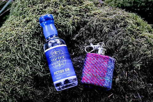 Harris Tweed Flask Gift Set with Miniature