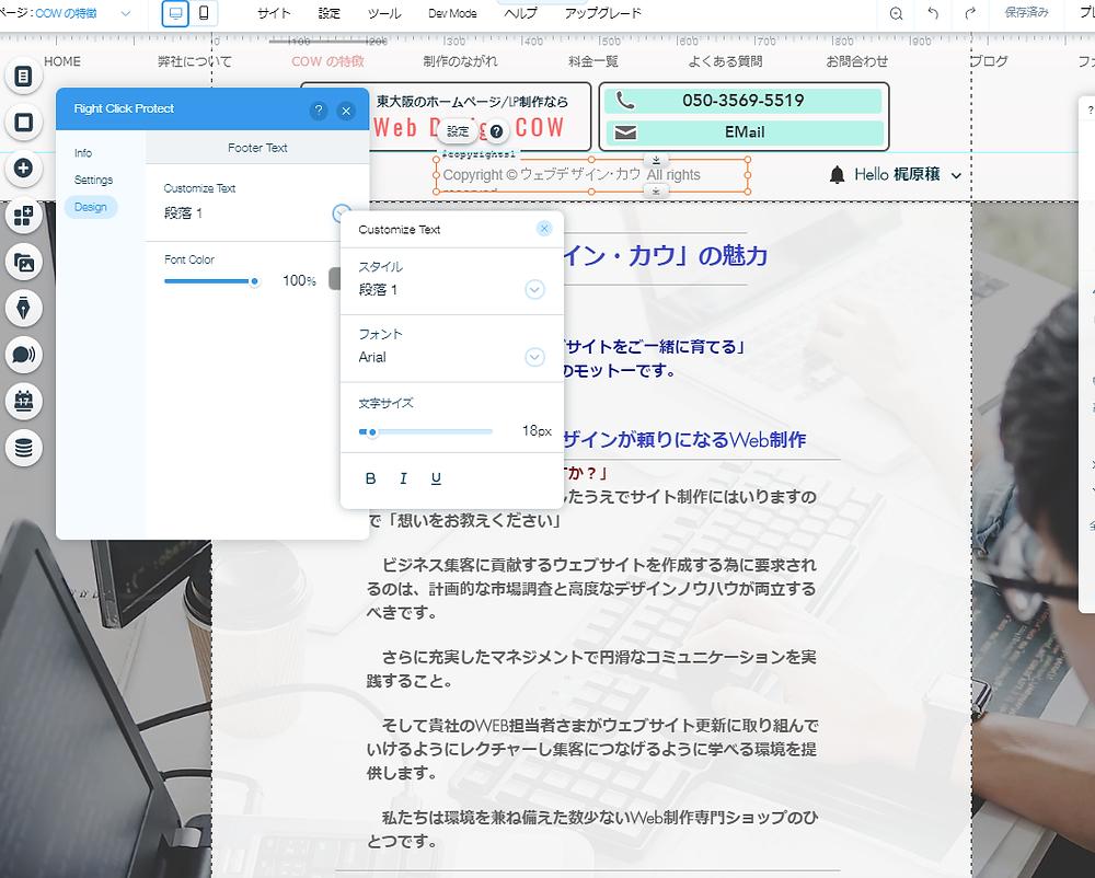 WIXホームページで「右クリック禁止」にする方法③イメージ画像