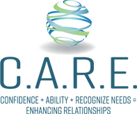 C.A.R.E. logo with blue and green world swirling above text