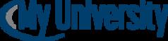 My University logo with blue swoosh