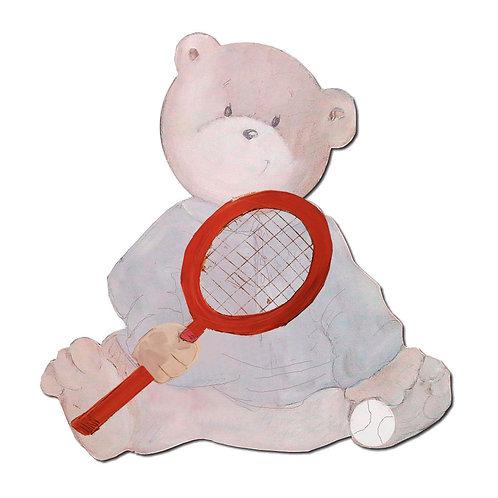 Silueta de osos bebé con raqueta de tenis