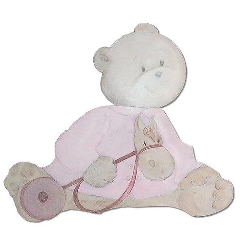 silueta de oso con caballito