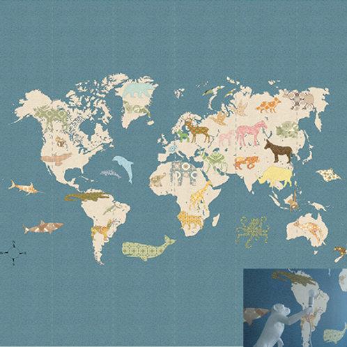 mapa mundo fondo azul