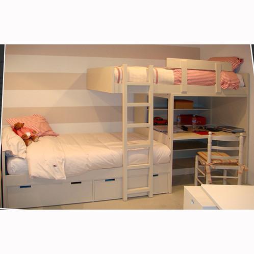 Literas nido 3 camas dormitorio con litera y escalera - Fabricar cama abatible ...