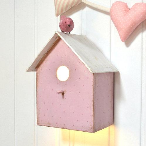 lámpara casita con pájaro