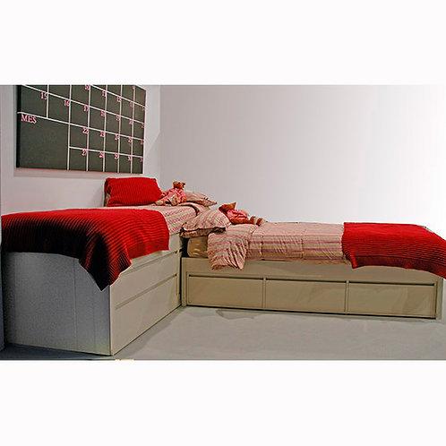 cama alta con armario en ele con nido