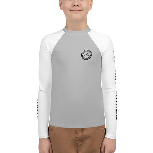 Youth Rash Guard Gray and White