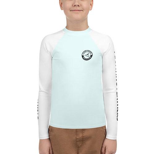 Youth Rash Guard Seafoam Blue and White