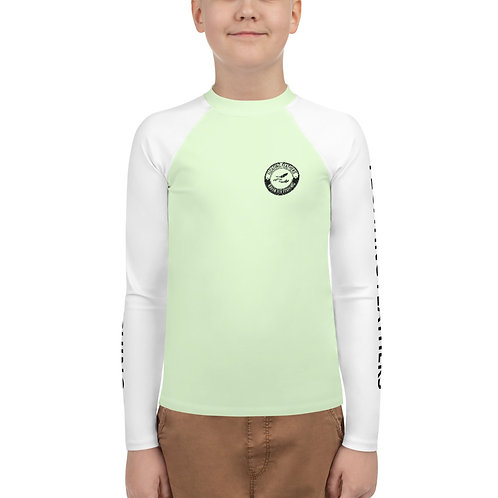 Youth Rash Guard Seafoam Green and White
