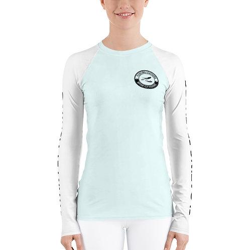 Women's Rash Guard Seafoam Blue and White