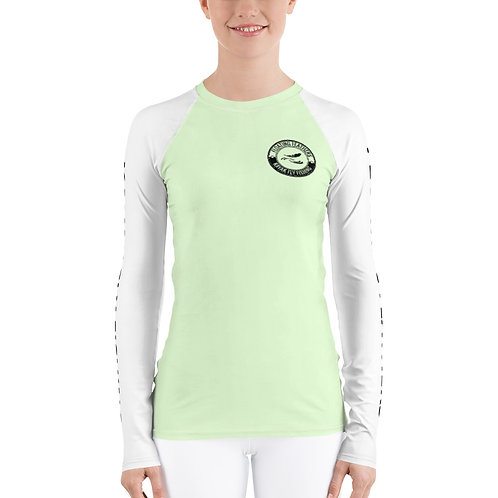 Women's Rash Guard Seafoam Green and White